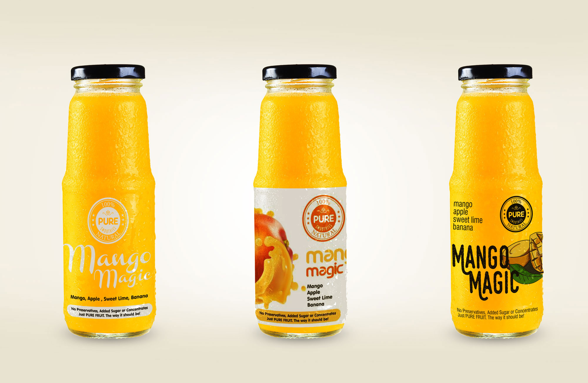 Mango magic Packaging Design bottle for Pure smoothies